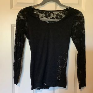 Black lace back dance top size XS or S
